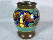 Vintage Gouda Holland Art Deco , Vase , Hand Painted