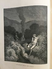 Gustave Dore -  Engraving (1870). Cain & Abel offering their Sacrifices.