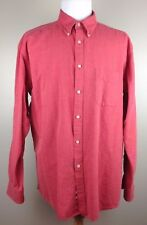 Talbots Mens Shirt Size XL Red Weathered Oxford Button Down Long Sleeve Cotton
