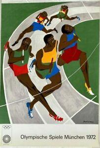 """JACOB LAWRENCE Munich Olympics 1972 40"""" x 25"""" Silkscreen  2ND EDITION"""