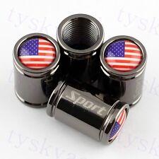 Vehicle Accessory Titanium Wheels Tire Tyre Valve Caps USA US Flag Badge Parts