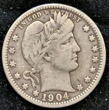 1904 O Barber Quarter 25c Solid Coin. Nice Grade