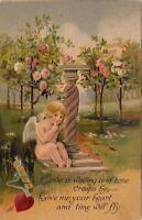 Postcard Valentine's Day Cupid Hugging Column Flowers