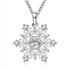 18K White Gold Plated snowflake necklace