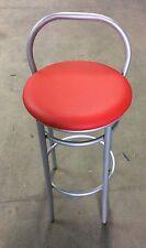 Sgabello alto per snack,bar,locale in finta pelle rosso struttura grigia