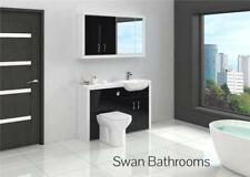 WHITE / BLACK BATHROOM FITTED FURNITURE WITH WALL UNITS 1300MM
