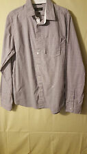 MEN'S LONG SLEEVE GUESS  DRESS SHIRT SIZE L GRAY~WHITE PLAID