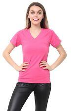 Womens Ladies Girls Plain Short Sleeve V -NECK T-Shirt Top Plus Size Tops Shirts