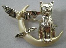 Halloween Cat & Bats on Moon Brooch Pin SIGNED by AJC in Gold Plate USA Made NEW