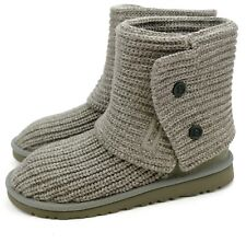 UGG Australia Big Kid Classic Cardy Grey Tall Slouch Boots US 6 fits Womens 8