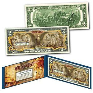 WILD WEST Outlaws Gunfighters Old West Black Eagle Jesse James Genuine $2 Bill