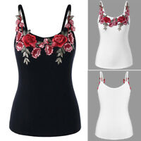 UK Womens Plus Summer Vest Tank Top Ladies Sleeveless Blouse Floral T-Shirt Tops