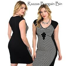 New Ladies Black & White Striped Dress Plus Size 16 (9958)NP