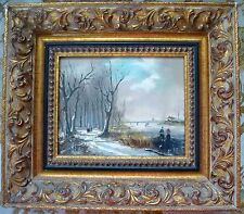 Antique Oil Painting Dutch School Snow Ice Winter Landscape Signed Gesso Frame