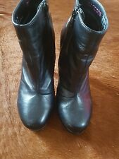 Bonbons Danessa Ankle Boots Bootie Black Leather upper size 7