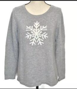Talbots Snowflake Sweater - Gray - NWT