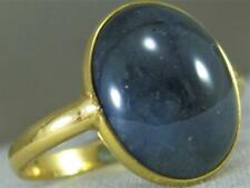ESTATE LARGE 12.98CT BLUE SAPPHIRE 18KT YELLOW GOLD BEZEL MENS RING 16MM K1379.5