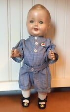 Antique Composition Freundlich Baby Sandy Celebrity Doll Tin Sleep Eyes 14.5""