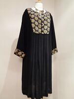 EAST LIFESTYLE BLACK GOLD ARTISAN INDIAN TUNIC  DRESS SZ UK 20
