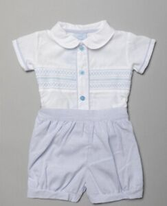 New in baby boys 2 piece traditional Spanish romany style smocked Shorts outfit