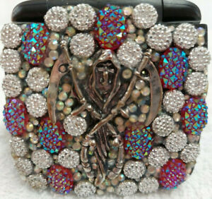 folding compact double mirror grim reaper bejeweled make up purse pocket gift
