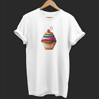 Womens Colourful Cupcake T Shirt Summer Baggy White Sweet Cake Chocolate Candy