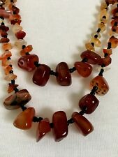 Natural Carnelian Necklace Tribal Stone and Glass Seed Bead Multi Strand