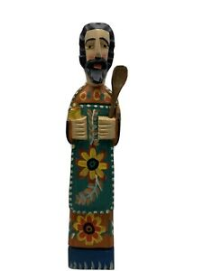 """Hand Carved Wood Baker Chef Cook Figure Hand Painted 15"""" Tall Floral Spoon Bowl"""