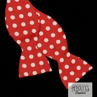 Vintage TURNBULL & ASSER Bow Tie, Ivory Dots on Cardinal Red Silk ENGLAND