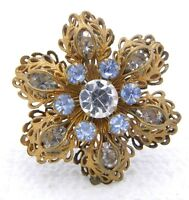Vintage Gold Tone Filigree Clear Blue Rhinestone Flower Pin Brooch