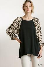 Umgee Black Top Long Dolman Animal Print Sleeves Frayed Hem S, M, L