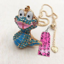 Betsey Johnson Blue Lovely Cartoon Cobra Snake Pendant Chain Sweater Necklace
