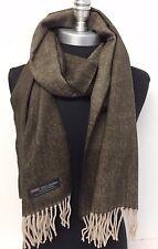 Men's 100% Cashmere Scarf Brown/Beige HerringBone Tweed Plaid Wrap SCOTLAND Soft