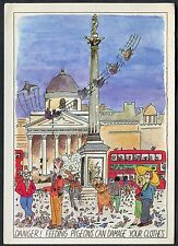 C1990's Large Art Card 'Feeding Pigeons can Damage your Clothes' by Chris Parker