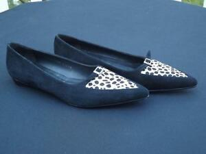 Donald Pliner Ollie Flats Leopard Print Loafers Pointed Shoes Size 7 1/2 M EXC