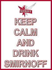 Keep Calm Y Bebida Smirnoff Vodka signo de Aluminio de Metal Cerveza signos Cave Bar Pub