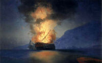 Nice oil painting Ivan Constantinovich Aivazovsky - Exploding Ship canvas 36""