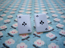 FUNKY BLACK ACE CLUBS CARD EARRING CASINO POKER RETRO VEGAS COOL FUN NOVELTY UK
