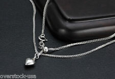 17.5INCH 18K White Gold Necklace Foxtail Chain with Heart Necklace 1.91g Au750