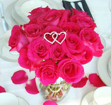 Double Silver Crystal Heart Wedding Bouquet Jewelry Pick