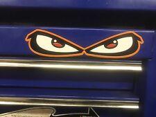ORANGE EVIL EYES HELMET KART TOOLBOX CAR SKATE STICKER DECAL FREE POST