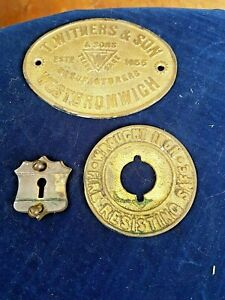 Vintage Gilt Bronze Safe Lock Plaque and Escutcheon Plate   T Withers and sons