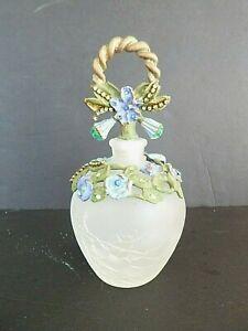 Vintage Perfume Bottle Glass Blue Green Enamel Floral Rhinestones Fortunoff