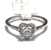 925 Sterling Silver .15ct I2 H round diamond heart womens ring 2.1g estate
