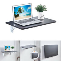 Wall Mounted Floating Folding Laptop Table w/ Bookshelf Home Furniture Black NEW