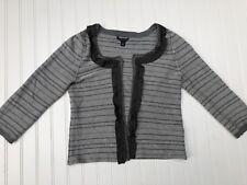 Banana Republic Gray & Black Wool Blend Long Sleeve Cardigan Sweater XS Petite