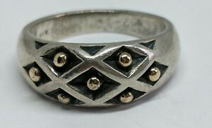Sz 8.5 RARE RETIRED James Avery Sterling Silver Dome Ring 14k Gold Beads