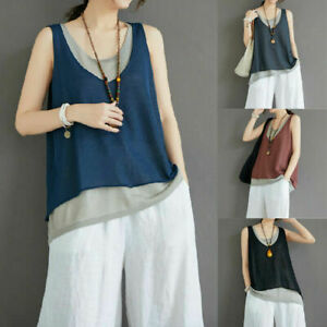 Ladies Sleeveless Round Neck Tank Tops Womens Casual Fake Two Summer Vest Shirts