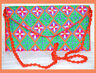 Embroidered Green Orange Red Color Purse Shoulder Bag of Silk Fabric from India