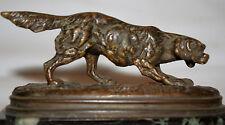Paul-Edouard DELABRIERRE (1829-1912) PETIT BRONZE EPAGNEUL BRETON FONTE ANCIENNE